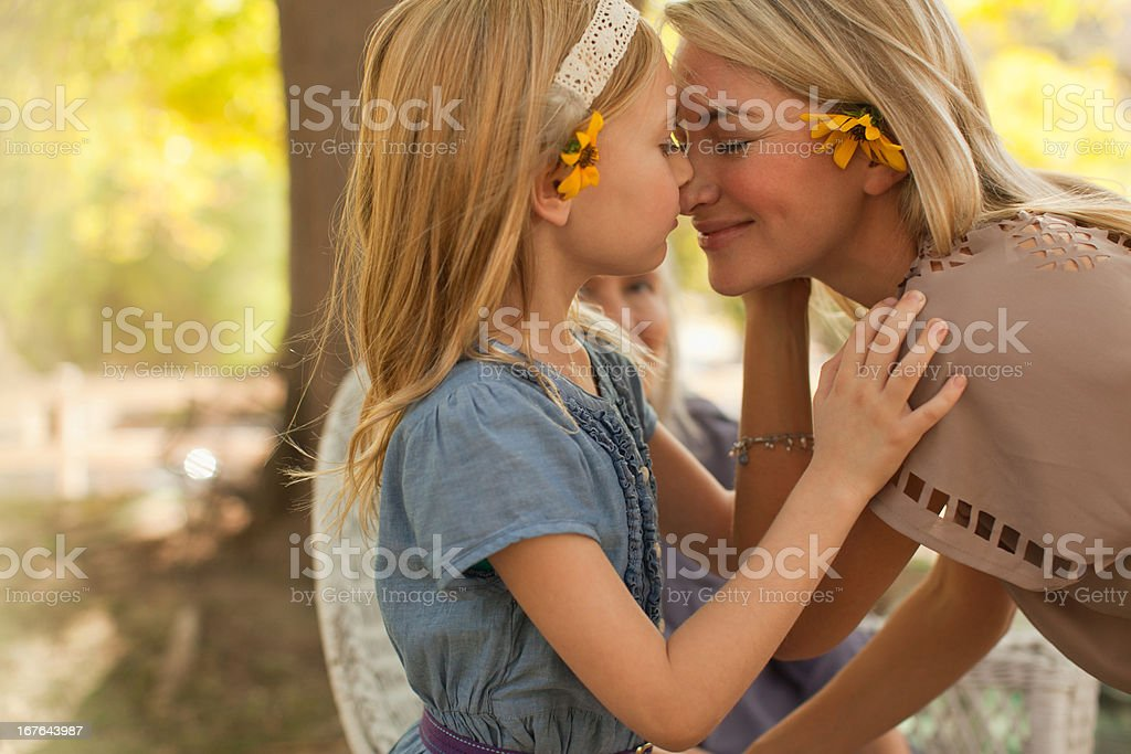 Mother and daughter playing outdoors royalty-free stock photo