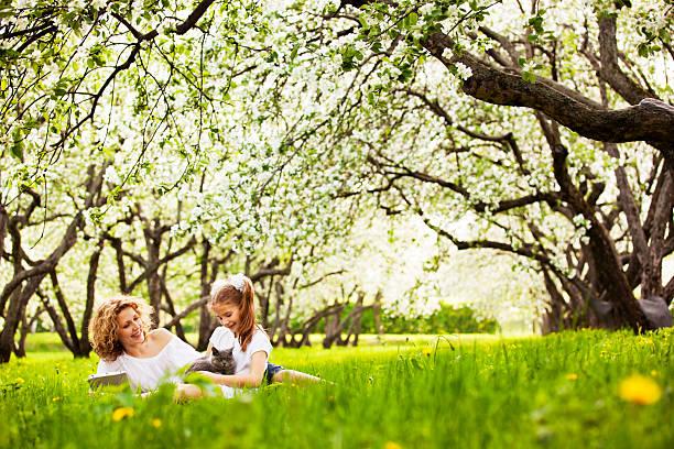 Mutter und Tochter spielen mit Kätzchen auf Rasen im park – Foto