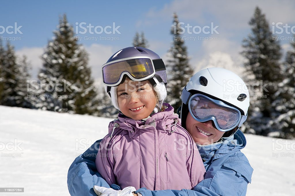 Mother and daughter posing happily royalty-free stock photo