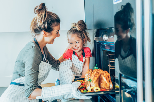 Mother And Daughter Preparing Turkey - Fotografias de stock e mais imagens de 20-29 Anos