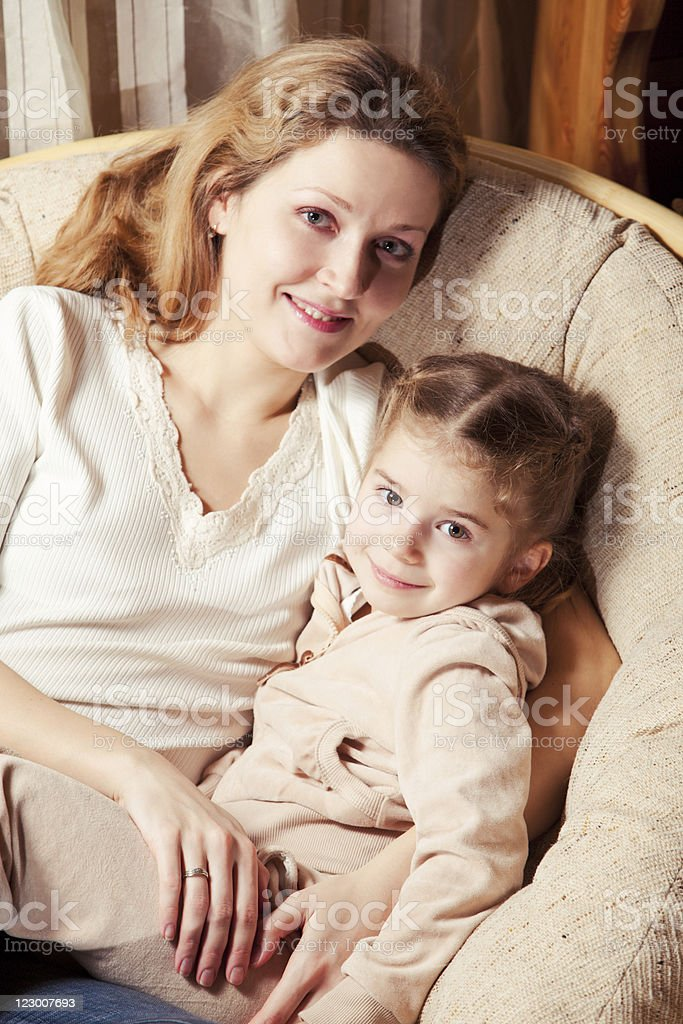 Mother and daughter relaxing royalty-free stock photo