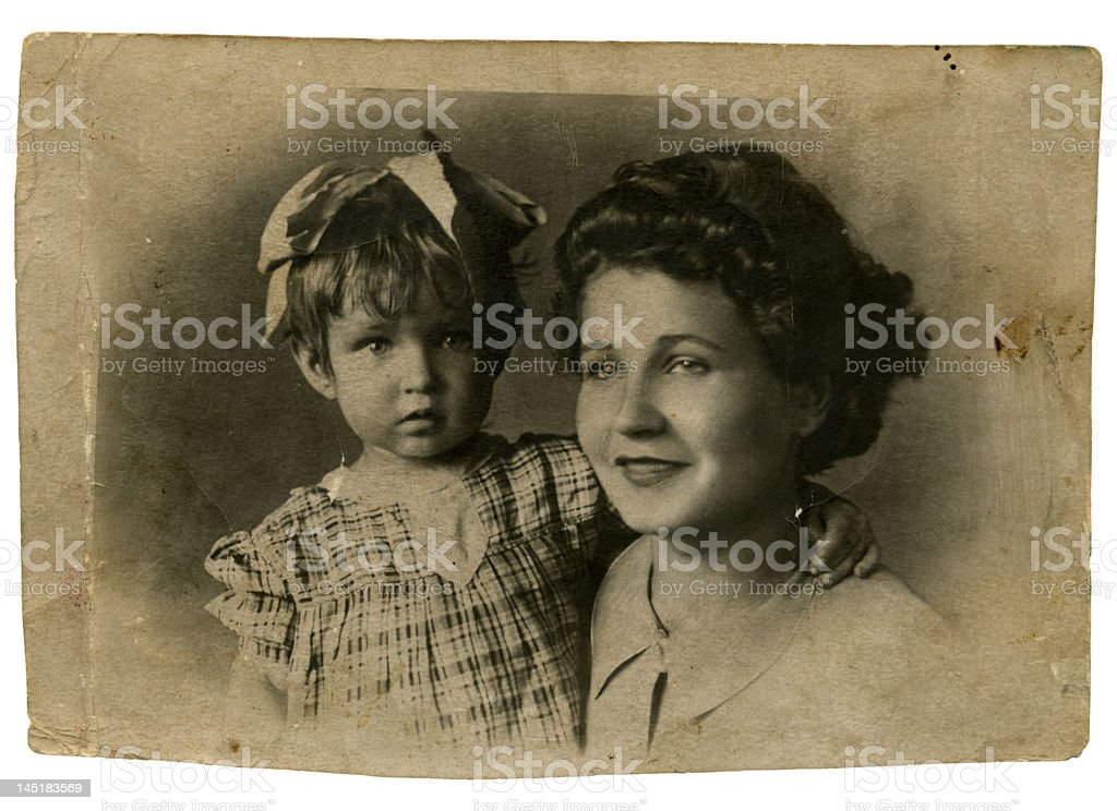 mother and daughter, Russia, 1945 stock photo