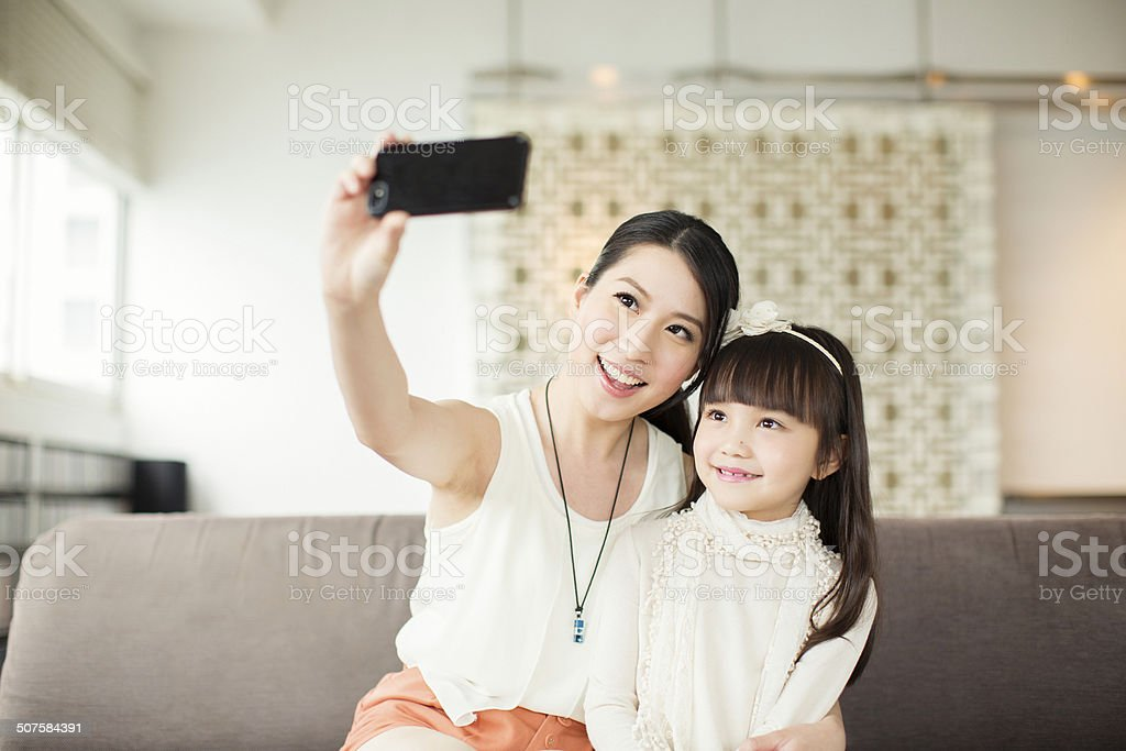 Mother and Daughter Selfie stock photo