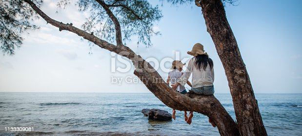 istock Mother and daughter sit on a tree at the beach 1133309081