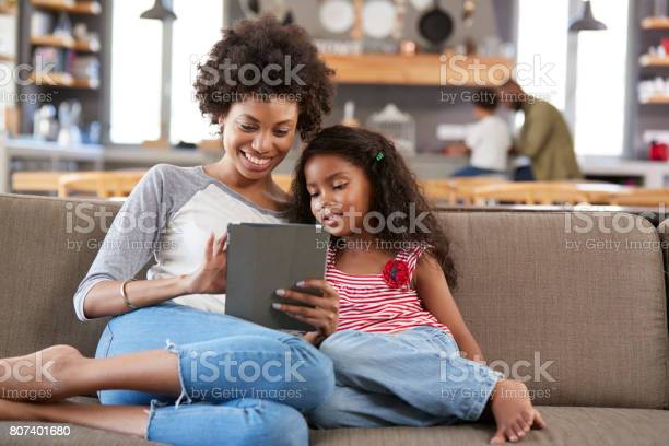 Mother and daughter sit on sofa in lounge using digital tablet picture id807401680?b=1&k=6&m=807401680&s=612x612&h=kkkwxqw2pypnbebaeiwkvn1wpfckrfg uxyteguv0ia=
