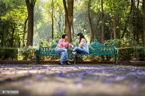 istock Mother and daughter sitting on a bench at the park 617575020