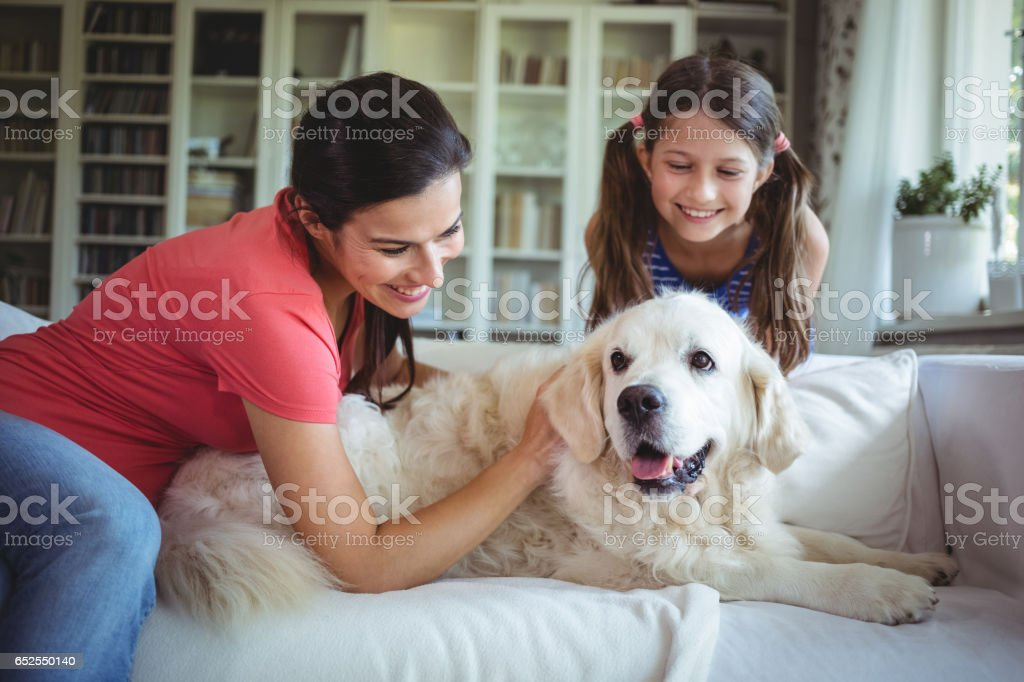 Mother and daughter sitting with pet dog in living room stock photo