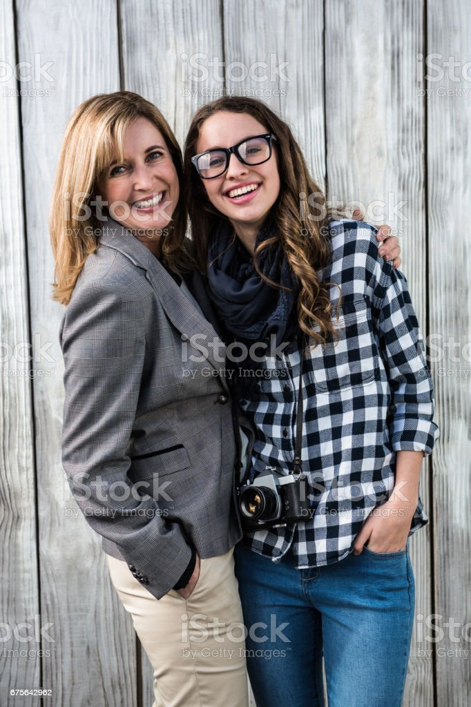 Mother and daughter smiling royalty-free stock photo