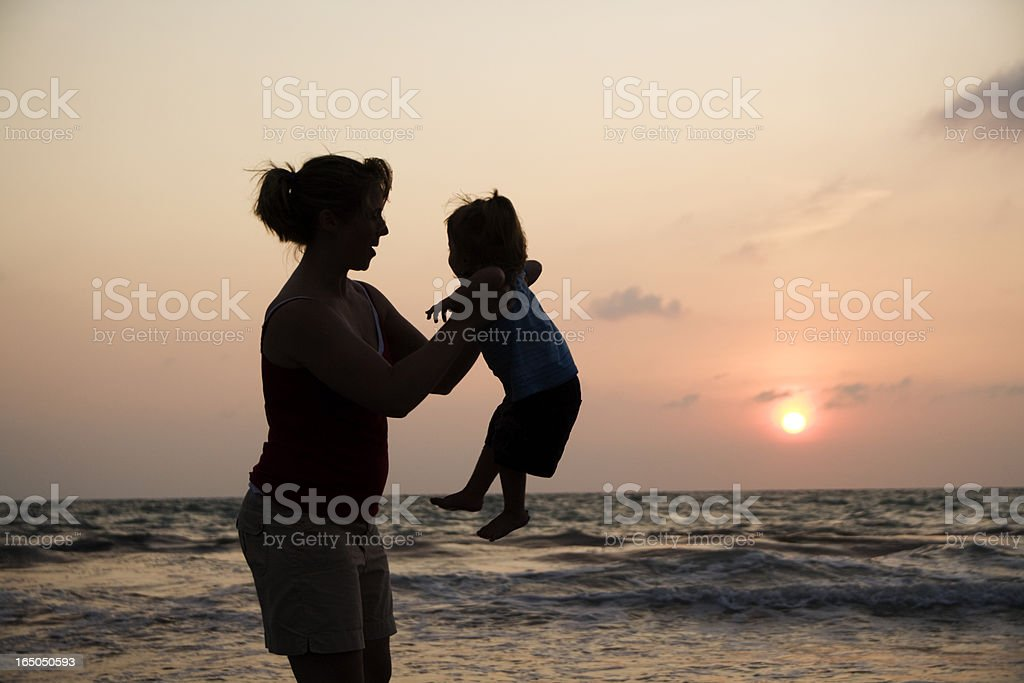 Mother and daughter sunset  XXL stock photo