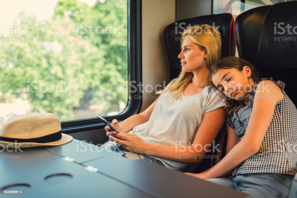 Mother and daughter traveling by train together stock photo