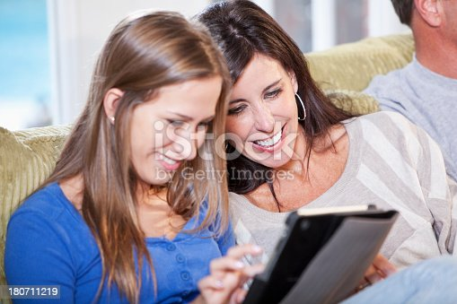 istock Mother and daughter using digital tablet 180711219