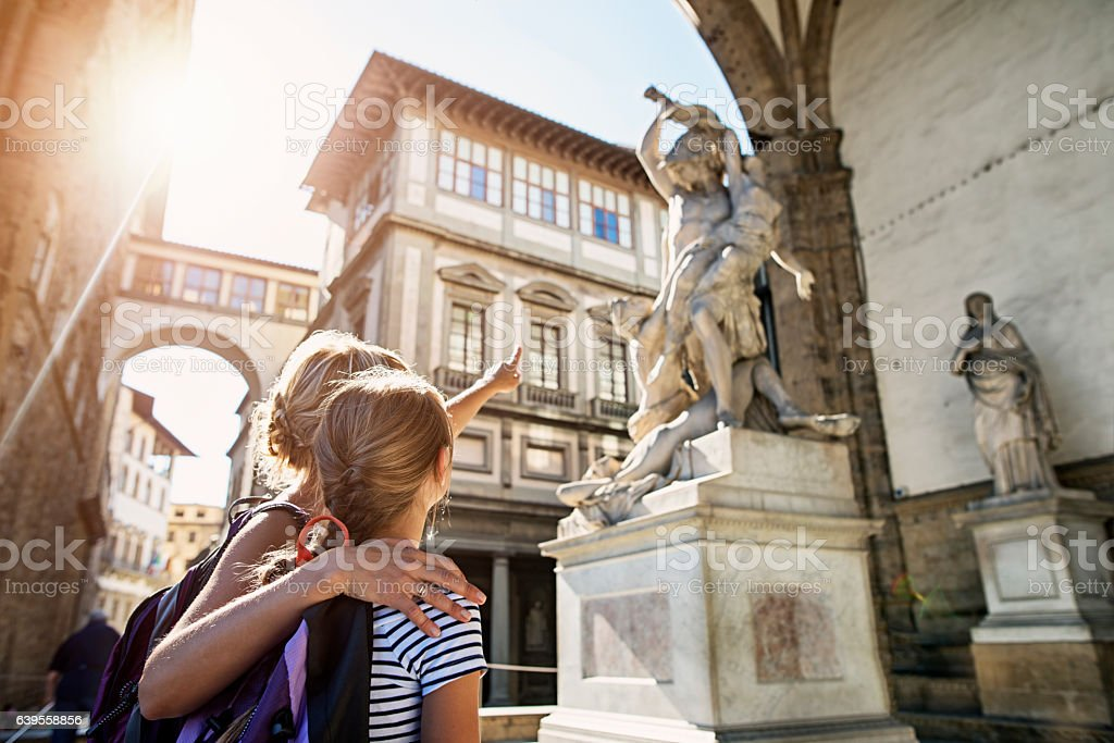 Mother and daughter visiting city of Florence (Firenze), Tuscany stock photo