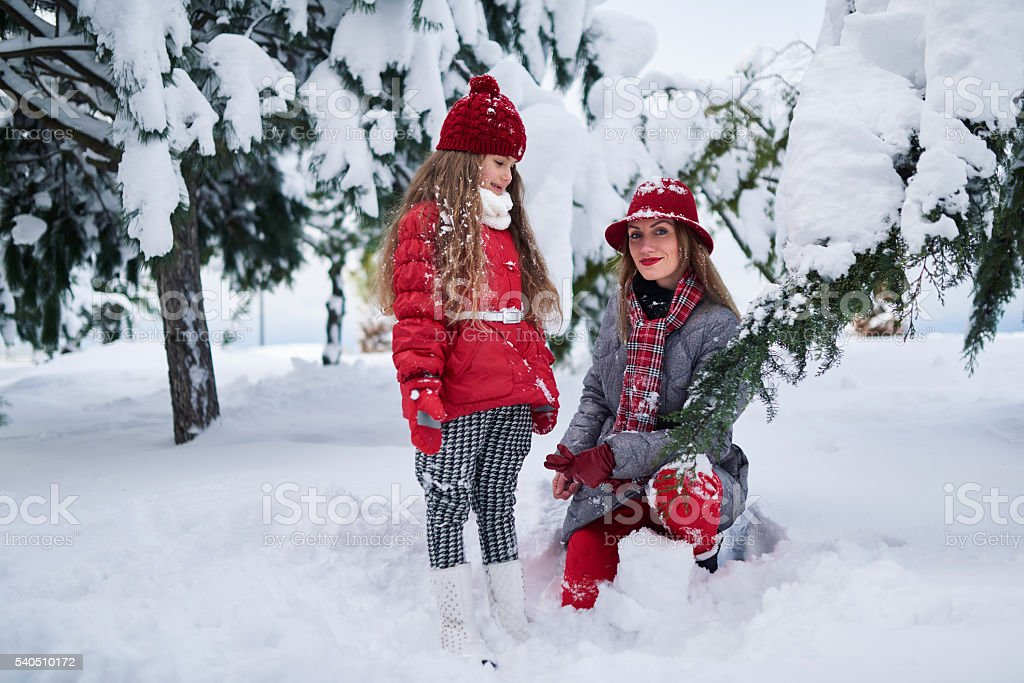 Mother and daughter walking in  snowy park stock photo