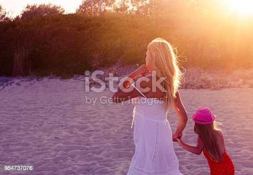 Young mother is holding her daughter's hand and walking on the beach at sunset.
