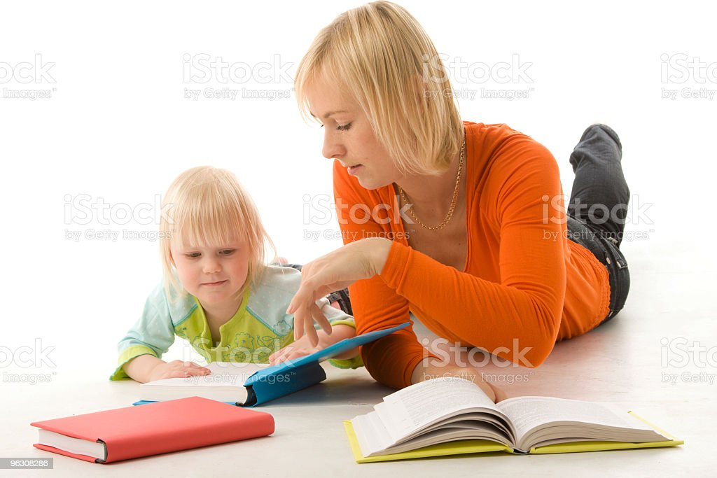 Mother and daughter with books royalty-free stock photo