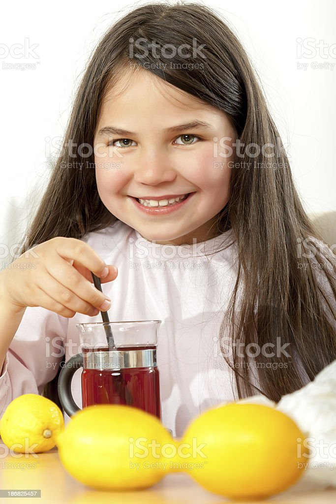 Mother and daughter with cold or flu royalty-free stock photo