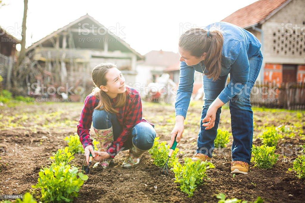Mutter und Tochter, die im Garten – Foto