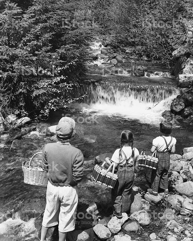 Mother and daughters, carrying picnic baskets, looking at waterfall royalty free stockfoto