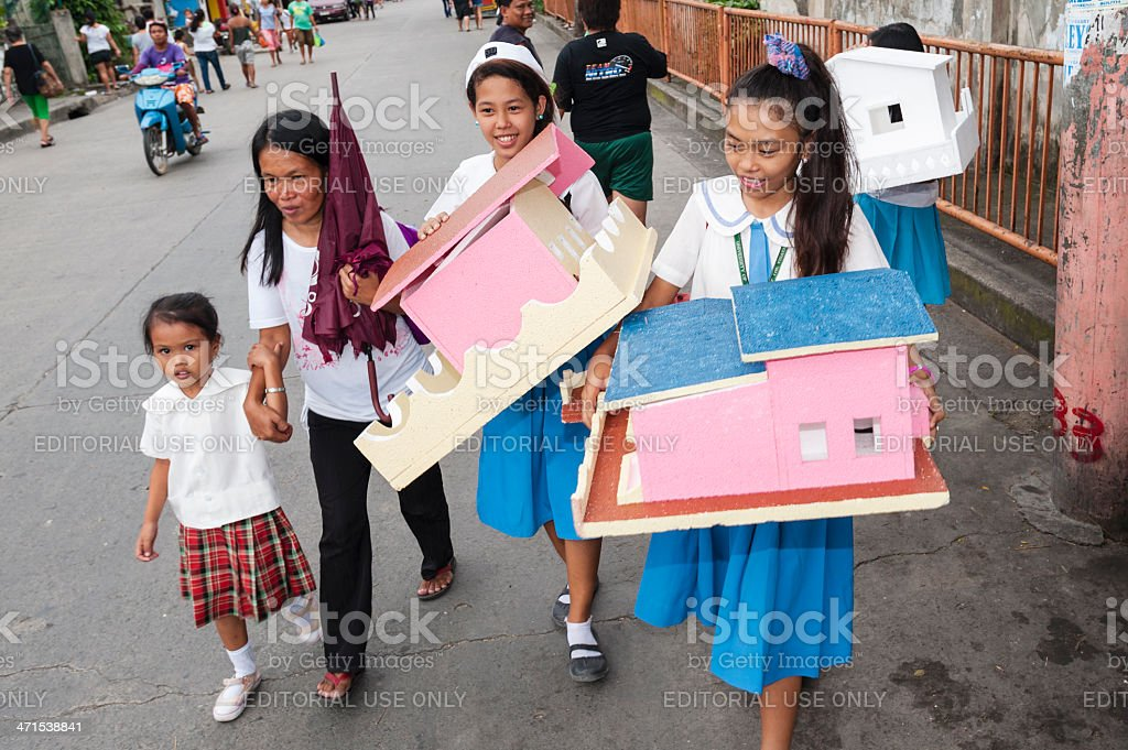Mother and Daughters in Cebu, Philippines royalty-free stock photo