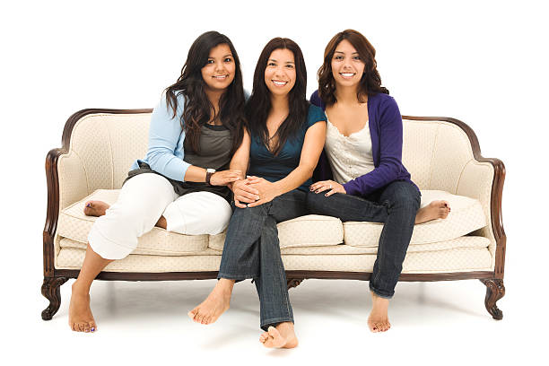 Mother and Daughters on White stock photo