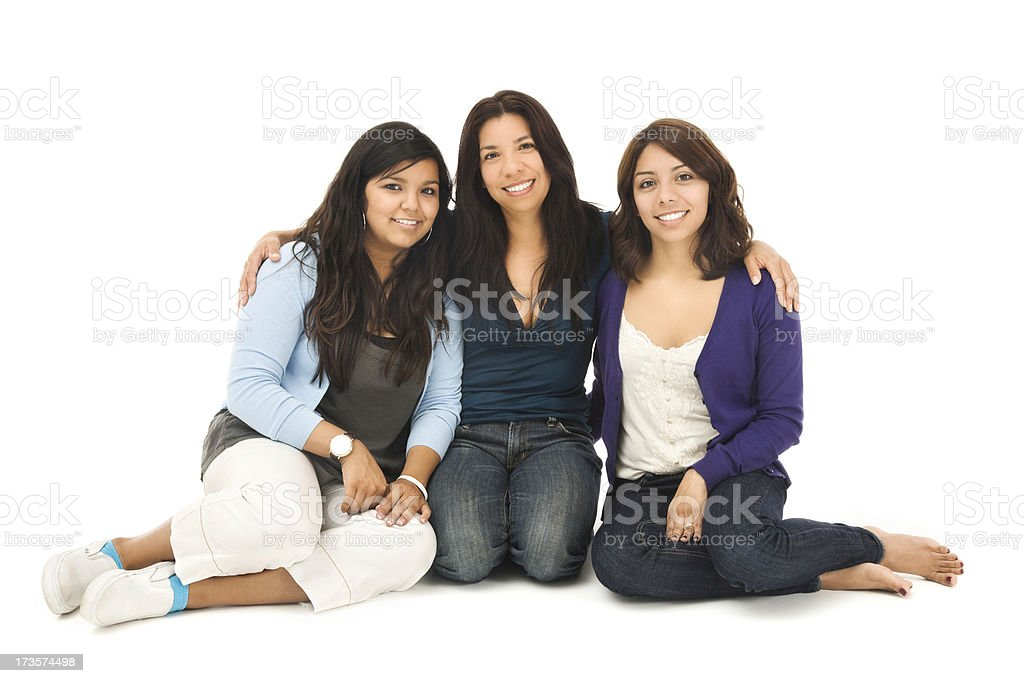 Mother and Daughters on White royalty-free stock photo