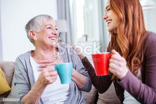 istock Mother and dauther having hot drinks together 533330026