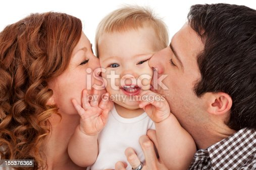 471164880 istock photo Mother and Father Kissing Baby Boy 155376365