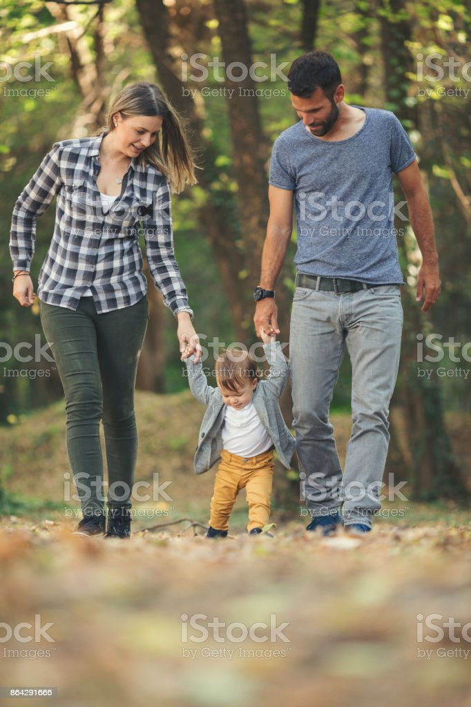 Mother and father teaching baby boy to walk royalty-free stock photo