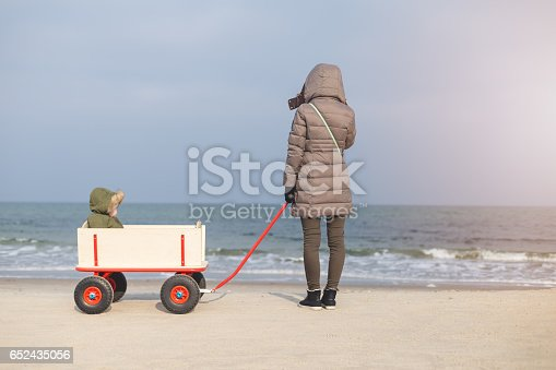 22 months old baby girl is driving in big foot all terrain wagons on a cold day with her mother