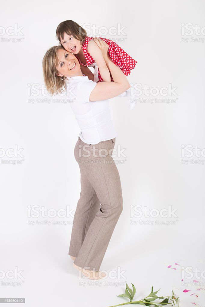 Mother and her daughter feeling happy stock photo