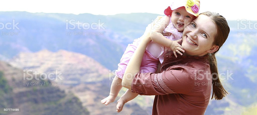 Mother and her daughter in Waimea Canyon stock photo