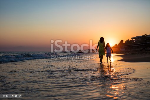 Mother and her daughter walking on the beach at sunset