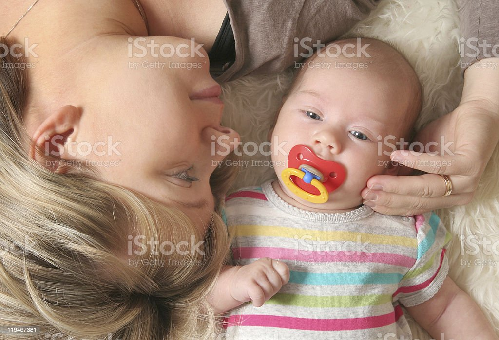 mother and her little baby stock photo