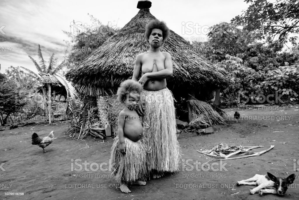 Mother and her little Girl Tanna Island Tribe Village Vanuatu stock photo