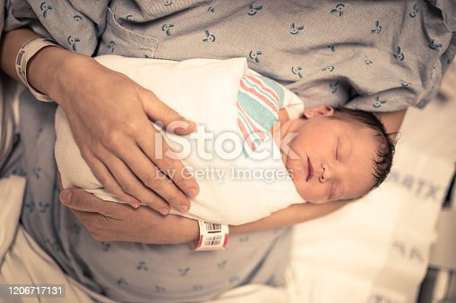 587876546 istock photo Mother and her sleeping newborn baby 1206717131