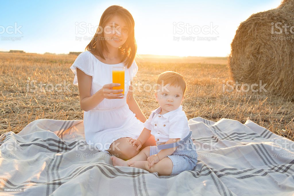 Mother and her son on holiday at a picnic. royalty-free stock photo