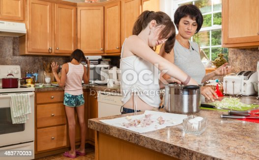 istock Mother and her teenager daughter cook together 483770033