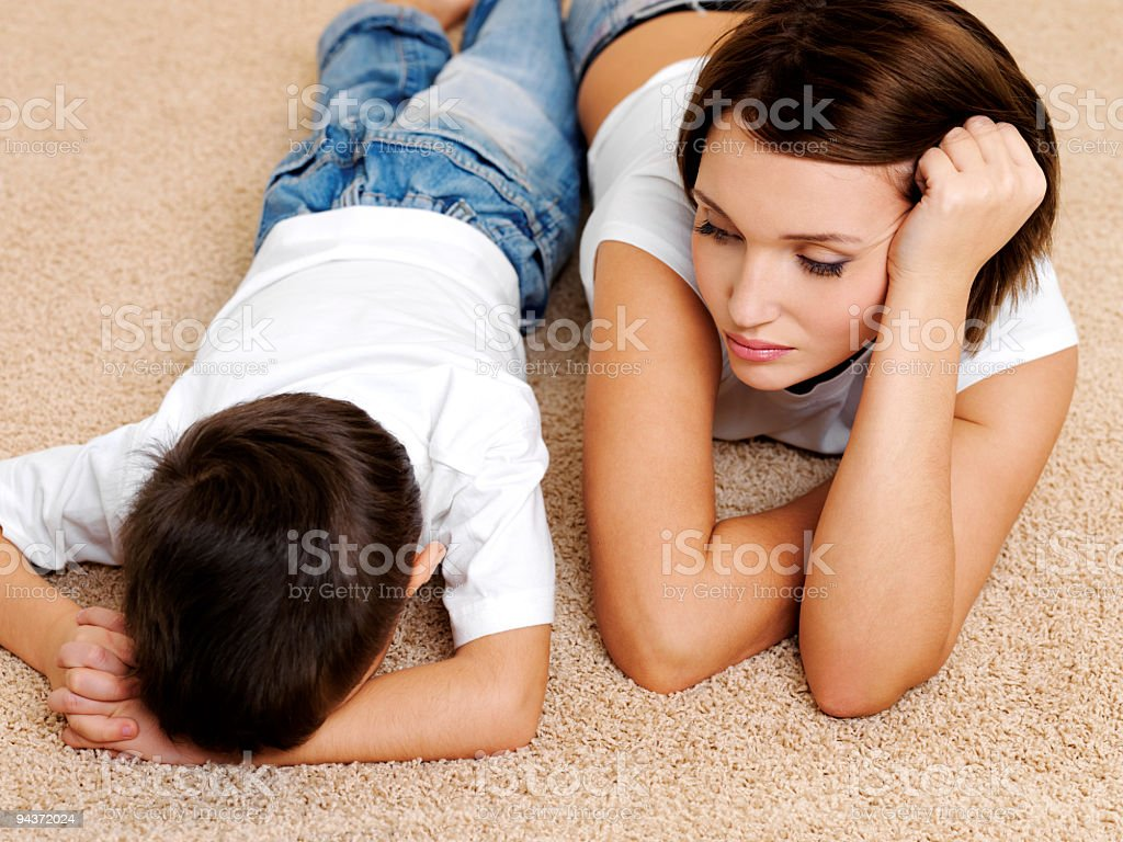 mother and its disobedient guilty crying son royalty-free stock photo