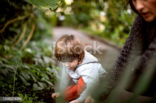 istock Mother and kid at the botanical garden 1205223054