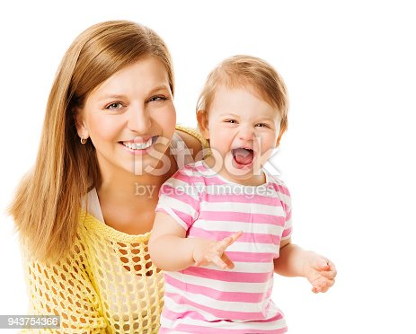 Mother and Kid Girl, Happy Mom with Baby Daughter, Infant Child one year old and Young Mum Portrait, Isolated on White background