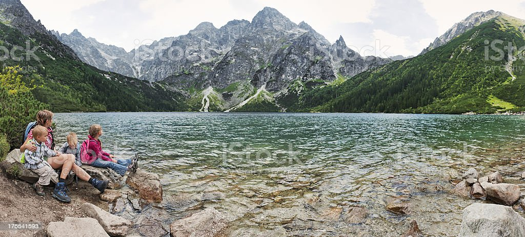 Mother and kids at the Morskie Oko stock photo