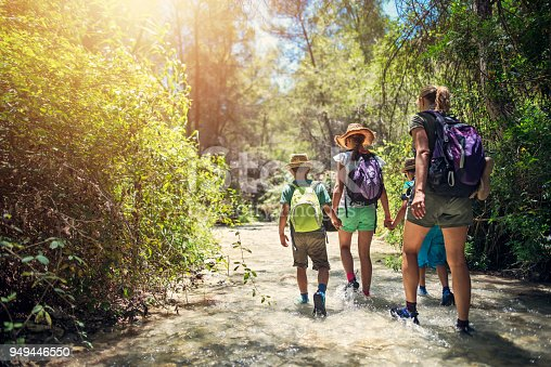 istock Mother and kids hiking in Andalusia river of Rio Chillar 949446550