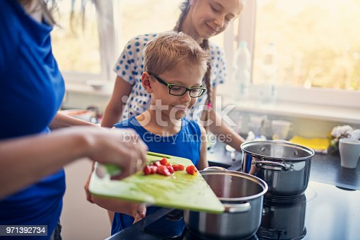 istock Mother and kids preparing lunch 971392734