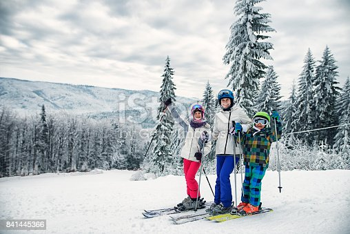 istock Mother and kids skiing together on winter day 841445366