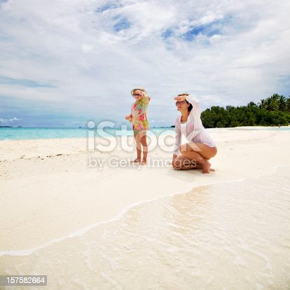 istock Mother and Little Daughter on Tropical Beach 157582664