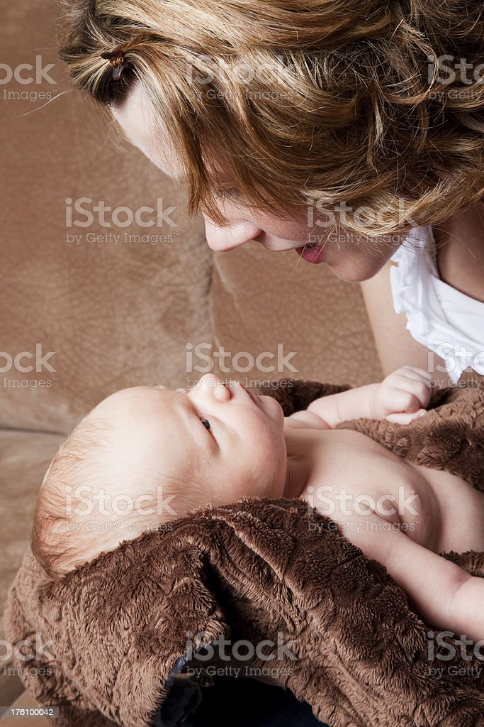 Mother and newborn baby boy stock photo