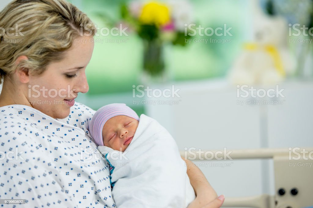 Mother And Newborn In Hospital stock photo