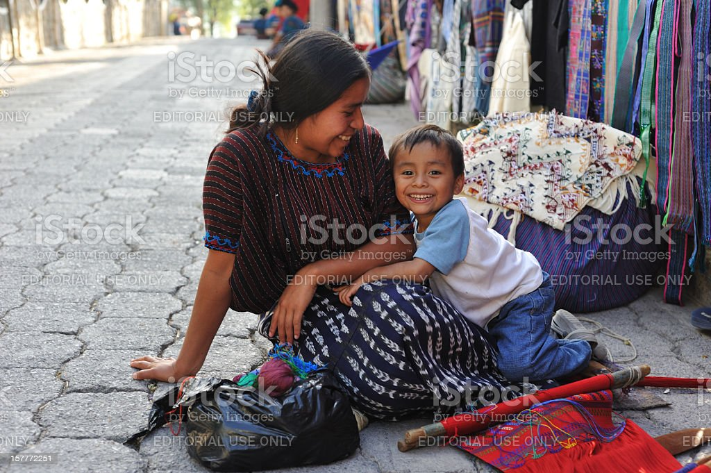 Mother and small child in Santa Catarina Poropo,  Guatemala royalty-free stock photo