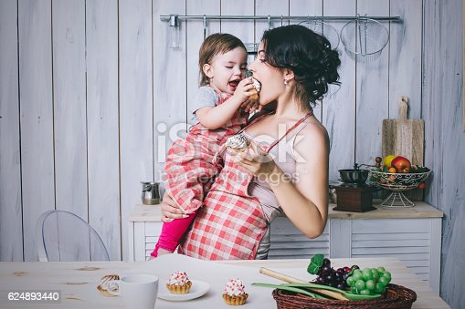 istock Mother and small child in the kitchen at home beautiful 624893440
