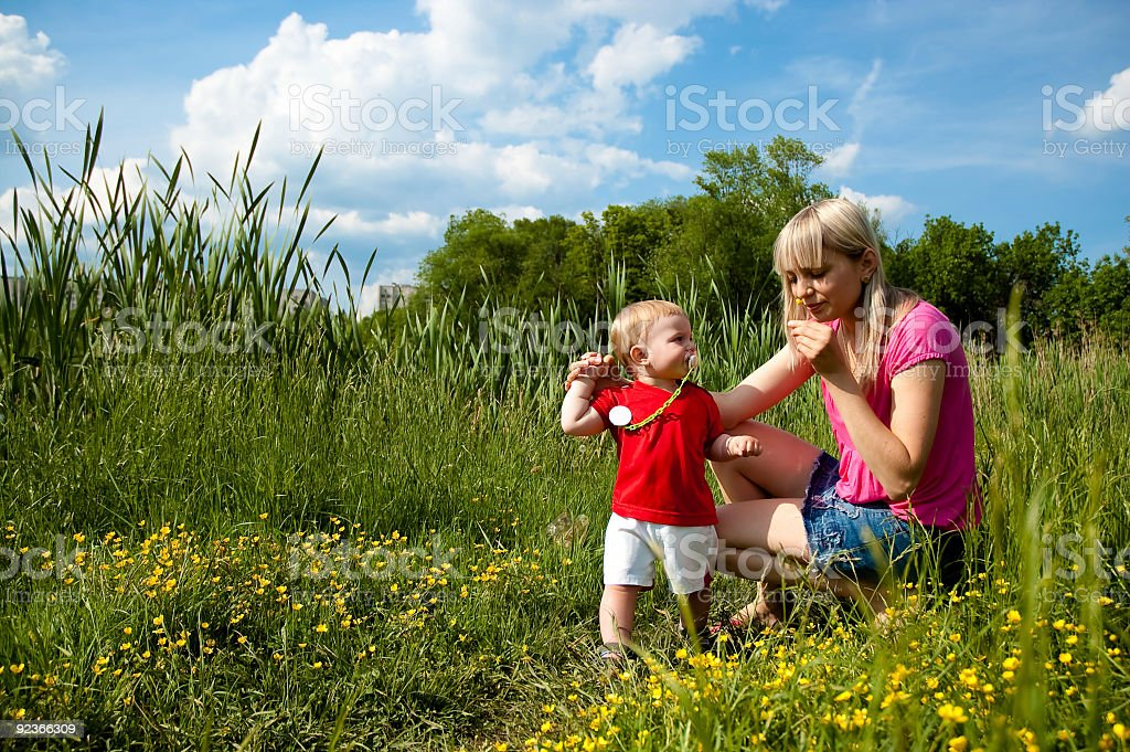 mother and smiling son (outdoors) royalty-free stock photo